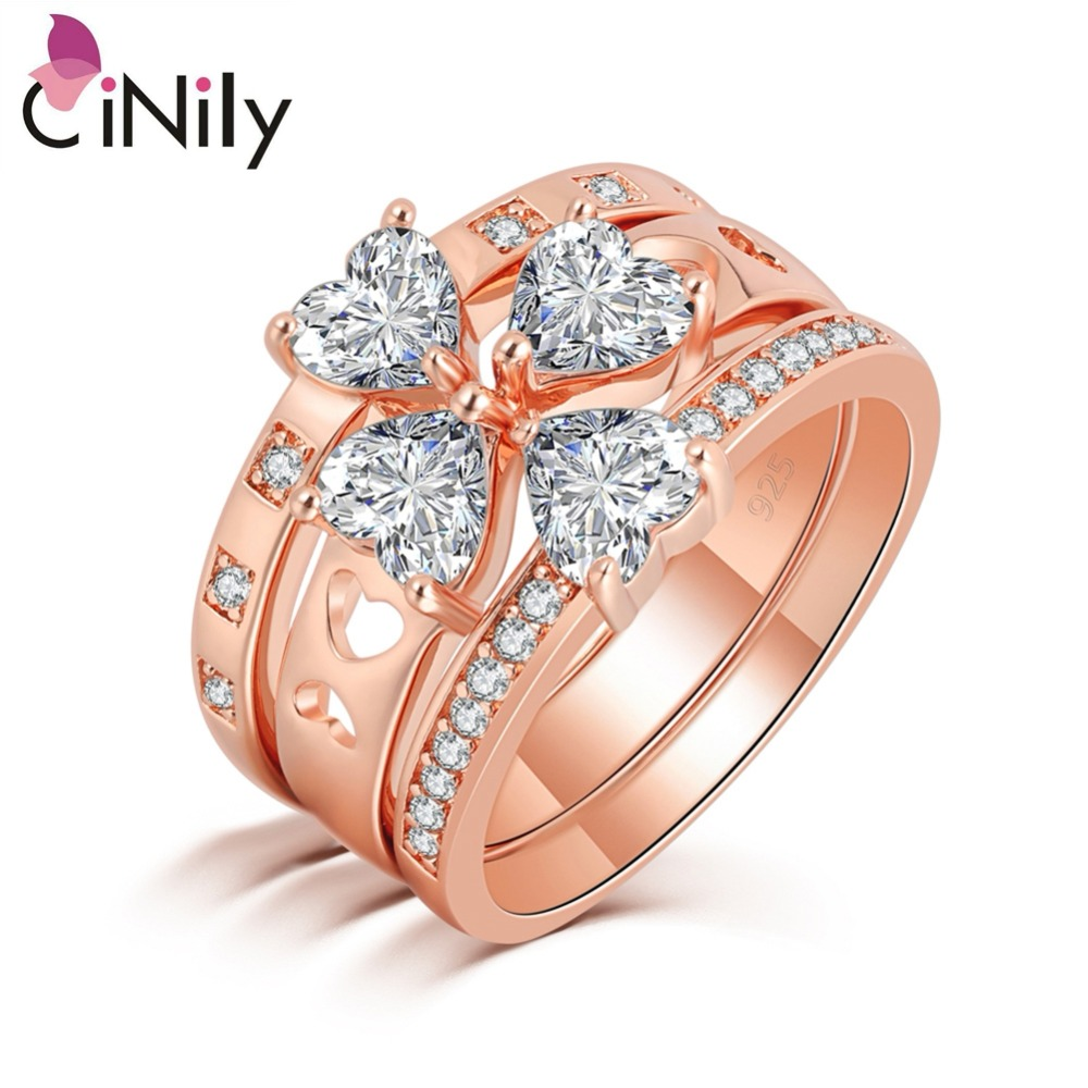 CiNily White Cubic Zirconia Rose Gold Color 3 in 1 Wholesale Heart for Women Jewelry Engagement Wedding Ring Size 6-10 NJ11055