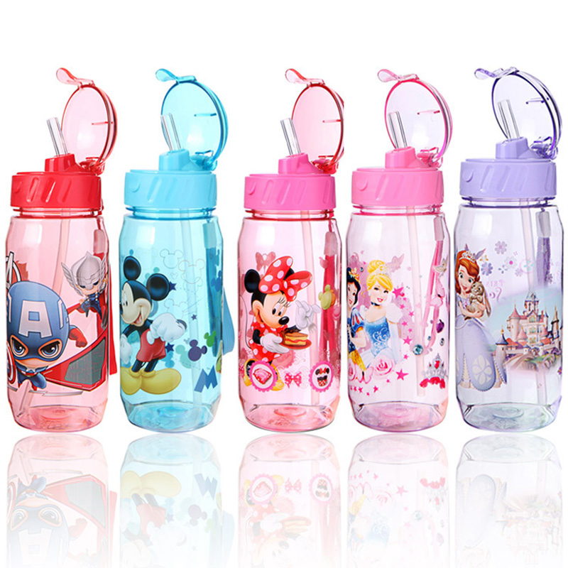 450ml Kids Feeding Cup Cartoon Cups Water Bottle Eco-friendly Baby Children Kettle Little Kid Boys Girls Protable Bottle