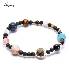 9 Planets Pluto Universe Bangles Galaxy Solar System Bracelet The Nine Star Natural Stone Beads Bracelets for Women Men