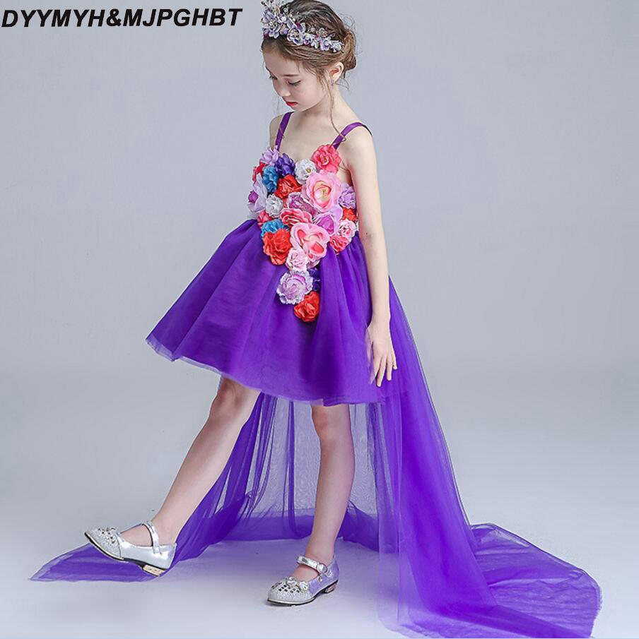 Flower Fairy Design Purple Kids Pageant Dresses Spaghetti Straps Hi Lo with Long Train Flower Girl Dress