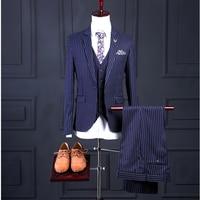 Na32 плюс размер groomtuxedo синий с белый полосатый индивидуальный заказ Нарядные Костюмы для свадьбы для Для мужчин groomtuxedos Для мужчин S Нарядные
