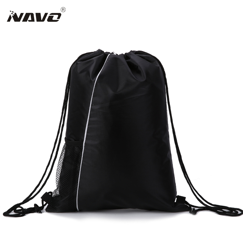 NAVO Men Women Drawstring Bags Polyester String Backpacks Casual Shoes Travel Beach Bags Promotional Cinch Bag Black navo fashion drawstring backpack shoe bag multi room 100