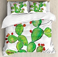 Cactus Duvet Cover Set, Ripe Prickly Pear Plant with Fruits Watercolor Illustration Botany Art, 4 Piece Bedding Set
