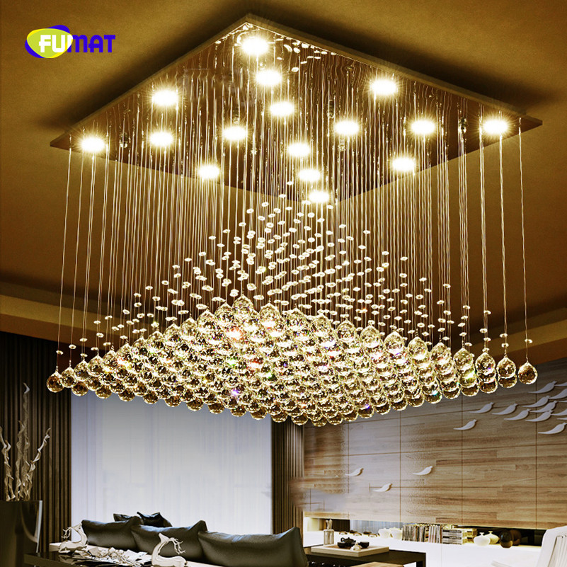 FUMAT led Square restaurant chandelier lighting Crystal creative personality modern simple bar decorated Chandelier lustre lamp modern and simple aluminum chandelier creative personality restaurant bar clothing store chandelier free shipping