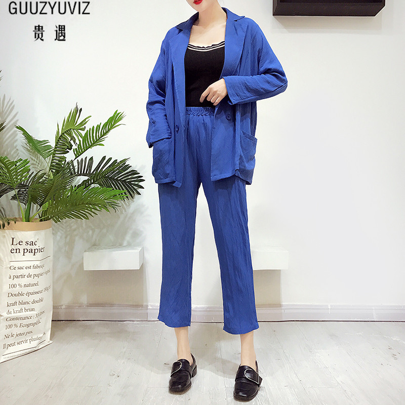 GUUZYUVIZ Casual Loose Long Sleeve Chic Outwear Women Tops And Elastic Wide Legs Pants 2 Piece Set 2018 Black Stracksuit Wome