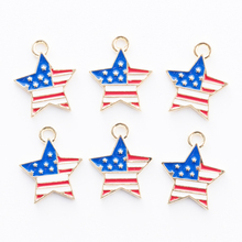 10pcs Star Drop Oil Alloy Pendants Bracelet Findings Enamel American Flag Pentagram Charms For DIY Jewelry Accessories YZ049