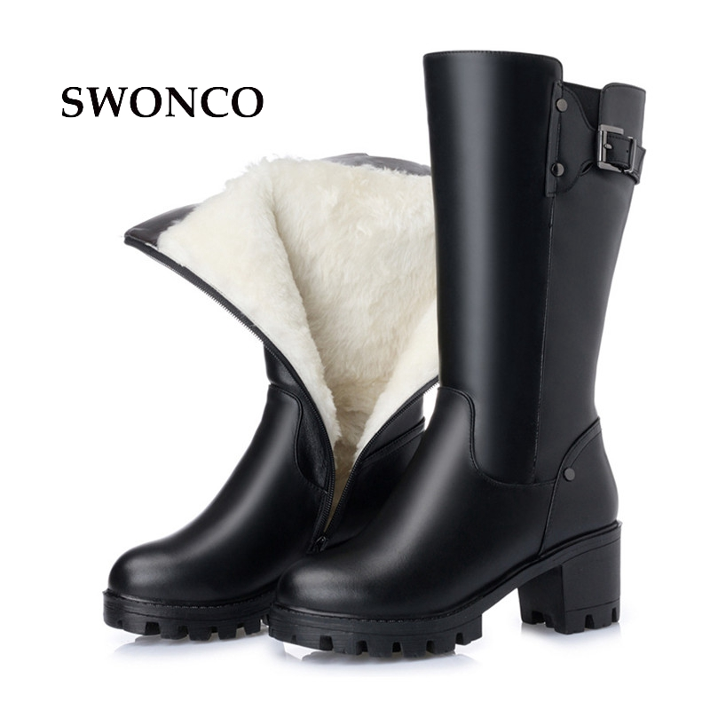 SWONCO Women's High Boots 2018 Winter Genuine Leather Natura