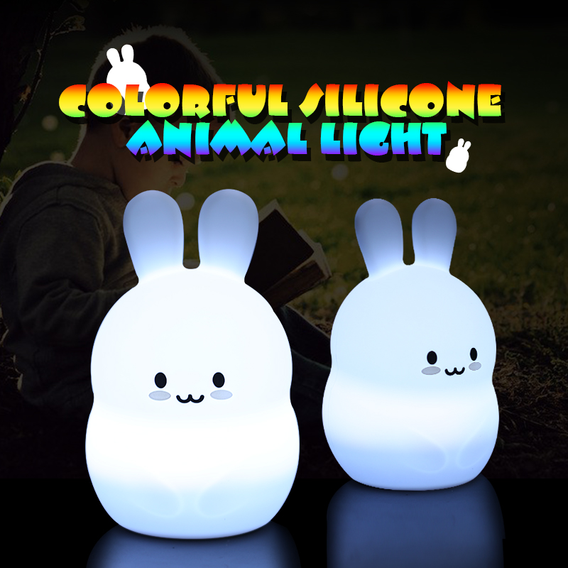 Baby LED Night Light rabbit Lamp Toy Nightlight Desk Light for kids Soft Silicone Touch sensor USB Rechargeable Gifts for Child thrisdar 28cm usb rechargeable novelty rabbit led night light cartoon rabbit atmosphere desk table light baby kids toy s light