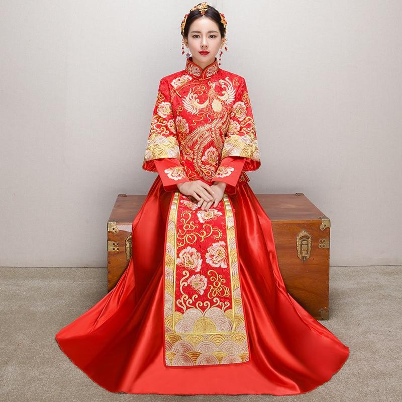 2019 Nieuwste Ontwerp Chinese Traditionele Lady Qipao Oosterse Elegante Mandarijn Kraag Volledige Lengte Cheongsam Sexy Borduren Rode Bruid Trouwjurk