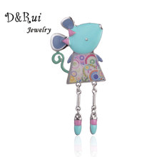 Cute Blue Brooches for Women Children Cartoon Animal Mouse Enamel Broche Clothes Dress Accessories Designer Jewelry Pins