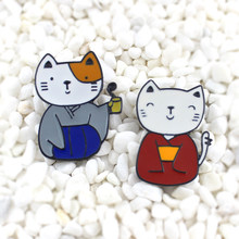 Shinjuku Dressed in a Japanese kimono Cute cat Couple Enamel brooch Vintage cute lucky cat badge Sweater denim backpack pin(China)
