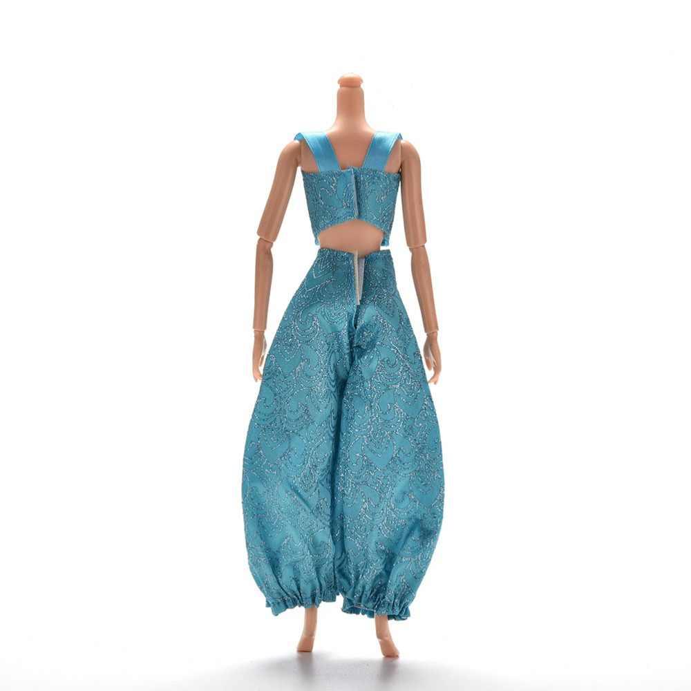 2 ピース/セットファッションクロストップワイド脚パンツラテン王女人形ヨガ服スーツバービーのためのギフト