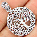 Guarantee Plain 925 Sterling Silver  Tree of life  Pendant  , 35 mm, 3.8 g,  SPJ2050