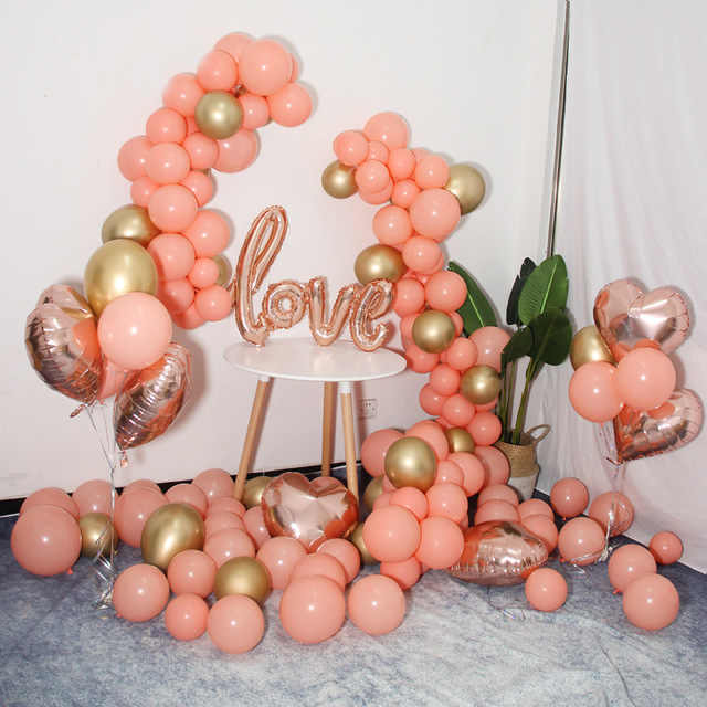 Perzik Roze Goud Koraal Engagement Party Achtergrond Ballon Garland Rose Goud Liefde Baby Shower Birthday Party Bruiloft Decoratie