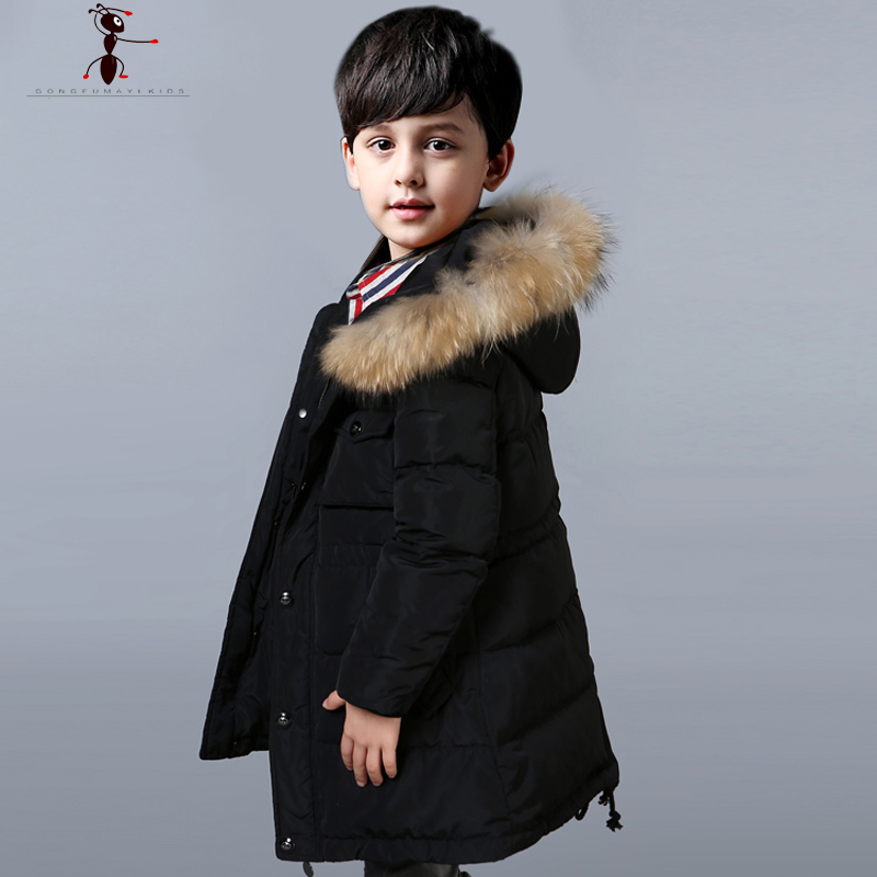 White Duck Down  Long  Boys Hooded Fur Down Coat Jackets Children Winter Jackets for Children Teenagers 1764 2017 winter down jackets for boys