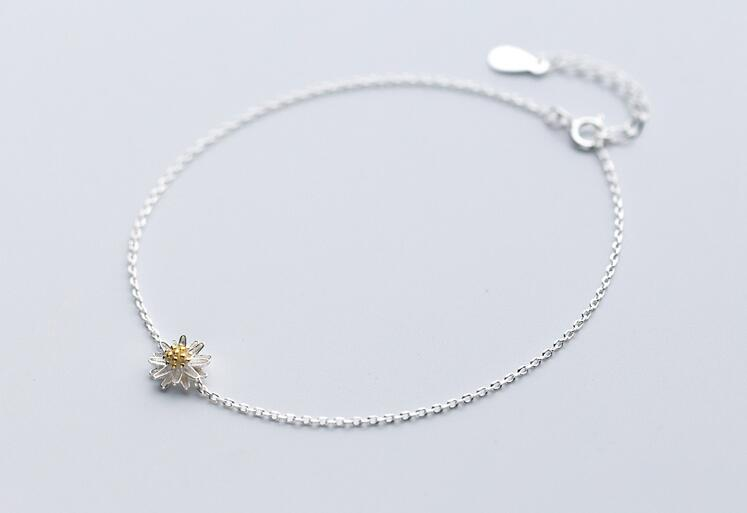 Cute 1pc 100% Real. 925 Sterling Silver Fine Jewelry Golden Daisy Flower Anklet Bracelet  GTLS479