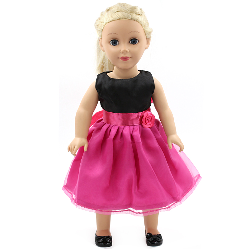 Stock Fahion 15 styles Hot Pink Princess Dress Doll Clothes fit 43cm Baby Born Zapf Doll Clothes and Accessories for kids MG045