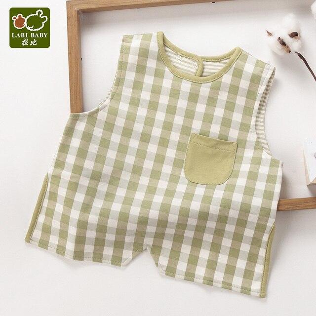 Baberos prácticos de bebé sin mangas delantal paños alimentación Burp paños con bolsillo a cuadros ajustable para niños pequeños