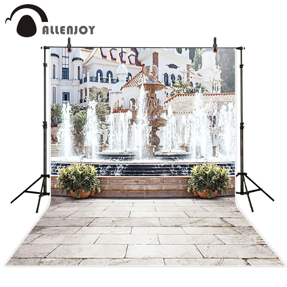 Allenjoy photographic background Sunshine Fountain Street spring photo backdrops for studio wedding backdrops Custom size