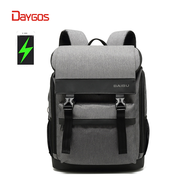 все цены на DAYGOS Men Backpack Anti-theft Waterproof USB Charging 15.6inch Laptop Backpack Student men School Bags For Teenagers Travel Bag
