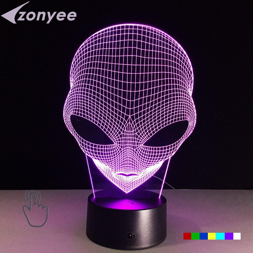 Unique 3D Spécial Alien Forme LED Lampe de Table avec USB puissance 7 Couleurs Changement Tactile Lumières USB ou AA Batterie alimenté