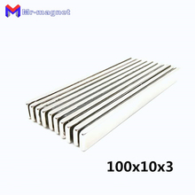 10pcs high quality 100x10x3mm Super strong neo neodymium magnet 100x10x3, NdFeB 100*10*3mm, 100mm x 10mm 3mm magnets