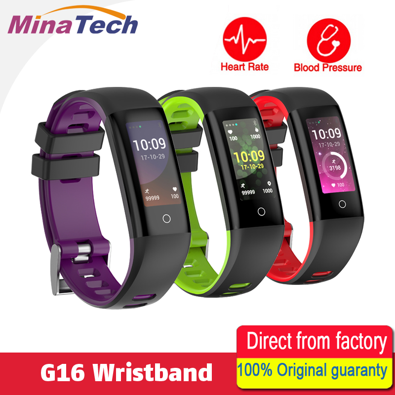 G16 TFT0.96 inch Color Screen Heart Rate Blood Pressure Monitor Smart Bracelet Pedometer Sports Fitness Bracelet for IOS/Android jimate g16 pedometer smart wristband bluetooth smartband heart rate monitor blood pressure bracelet color screen for ios android