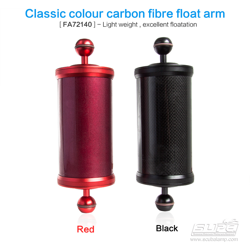 SUPE Scubalamp FA72140 Carbon Fiber Float Arm -630g Underwater Scuba Diving Accessories Photography Equipment Buoyancy Arm new carbon fiber float buoyancy aquatic arm dual ball floating arm diving camera underwater diving tray