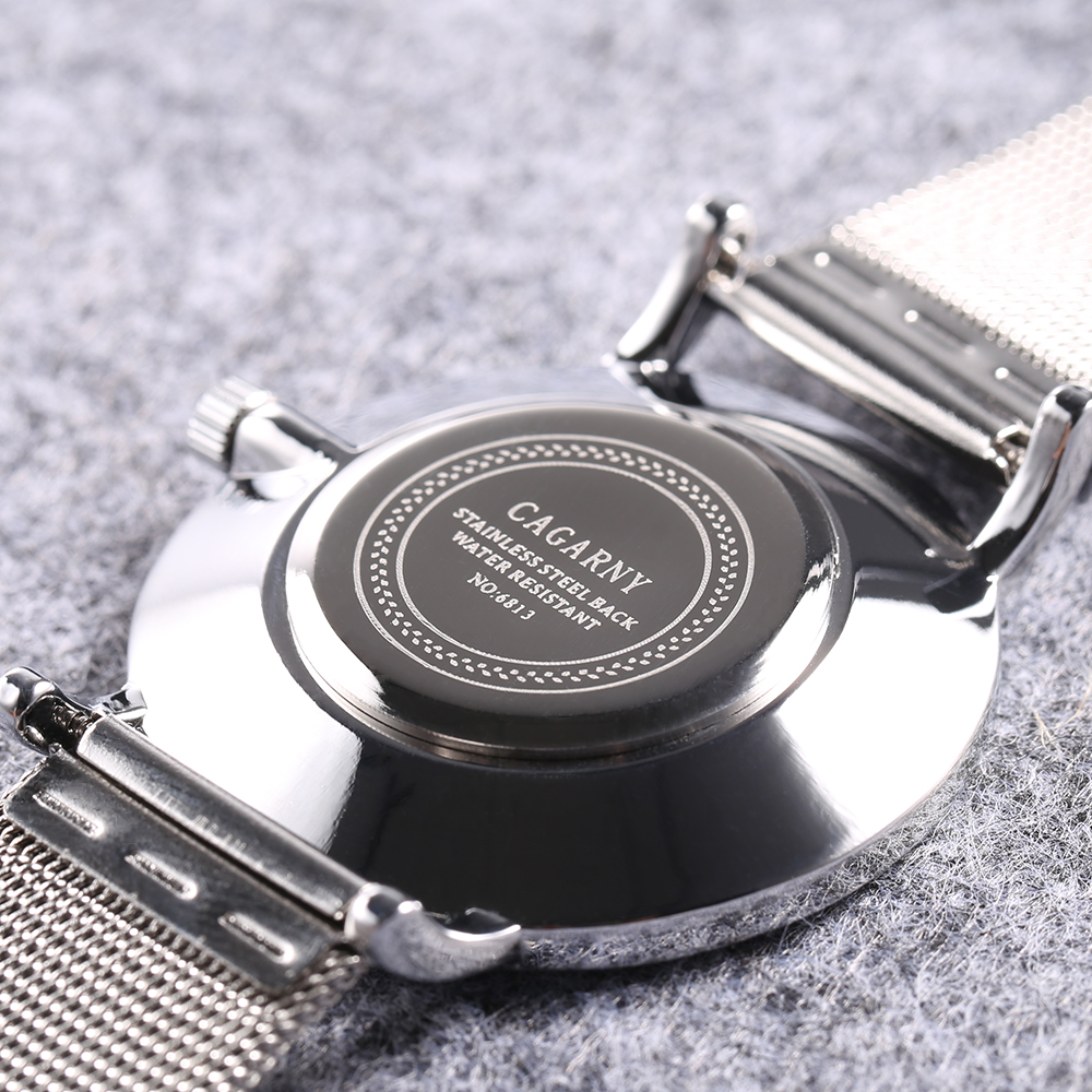 top luxury brand cagarny quartz watch women silver stainless steel mesh band simple style ladies wrist watches waterproof 2019 trendy (5)