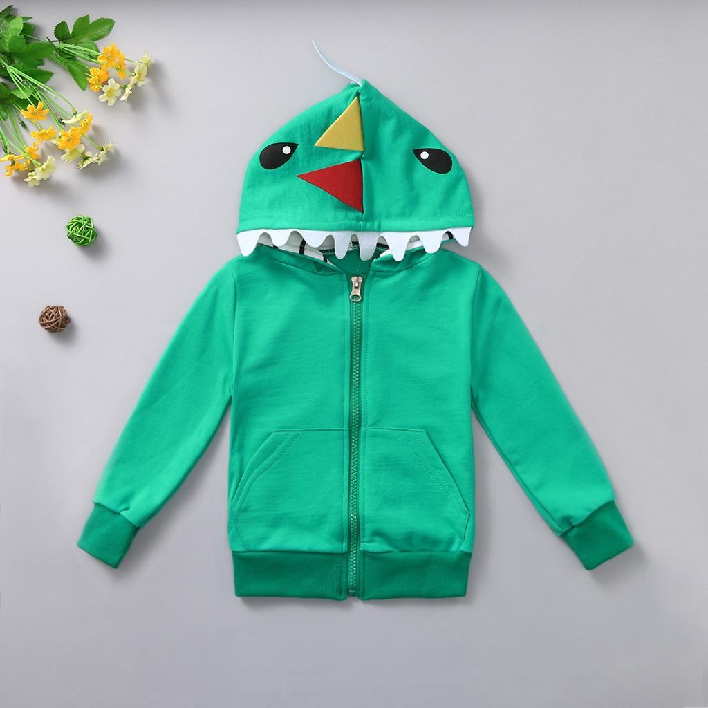 Fashion Toddler Baby Boy Girl Kid Zip Jacket Cartoon Dinosaur Outerwear Coat Top