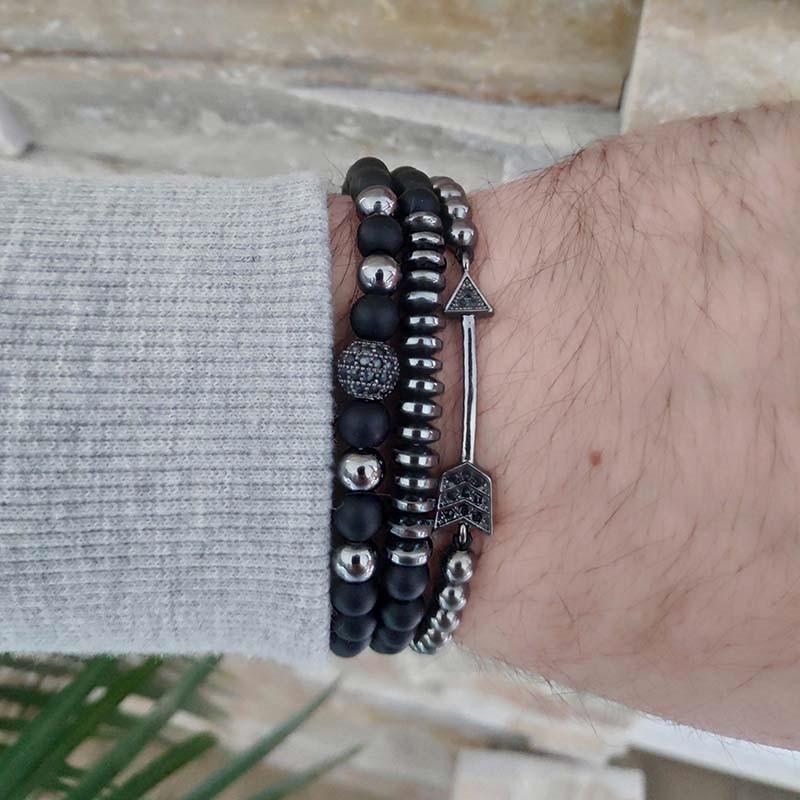 3Pcs/Set Natural Matte Stone Beads Bracelet Sets Men Copper CZ Ball Arrow Women Couple Elasticity Bracelets Jewelry pulseiras