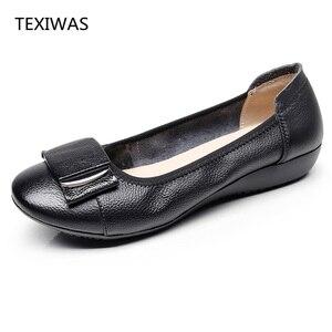 Image 2 - Texibeen النساء أحذية امرأة جلد طبيعي حذاء مسطح عمل غير رسمي المتسكعون الباليه الشقق جديد موضة النساء الشقق حجم كبير 34 43