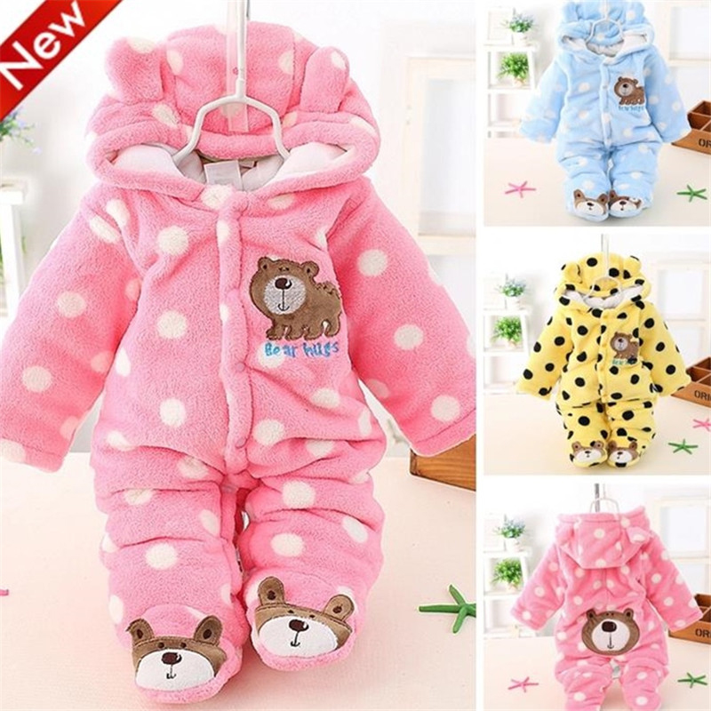 2017 Winter Baby Girl Clothes Cotton Baby Boy Rompers Long Sleeve Infant Clothes Packet Feet Cartoon Baby Jumpsuits Roupas Bebe cartoon fox baby rompers pajamas newborn baby clothes infant cotton long sleeve jumpsuits boy girl warm autumn clothes wear