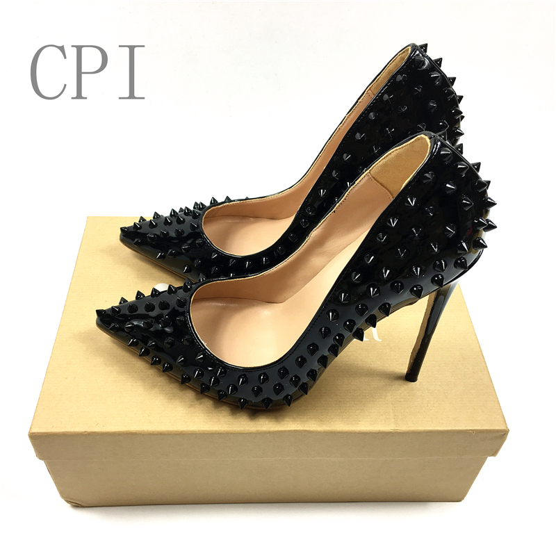 Brand Women Metal Rivets Studs Shiny Leather Pumps Stilettos Pointed Toe Ladies Spikes Slip on Bridal Dress High Heels Shoes women ladies flats vintage pu leather loafers pointed toe silver metal design