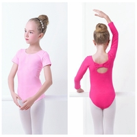 2016 Fashion Round Neck Butterfly Tie Back Dance Ballet Leotard Girls Kids Children Cotton Gymnastic Leotard