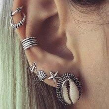Crazy Feng Fashion Shell Stud Earrings Set For Women 7pcs/Lot Tibetan Silver Color Hook Earrings For Women Boho Punk Jewelry