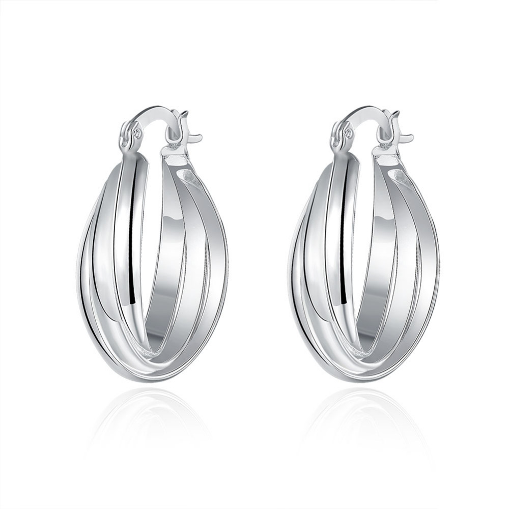 Simple Design Classic Jewelry Silver Plated Twisted Hoop Earrings Wholesale  Fashionable Women Basketball Wives Party Loop