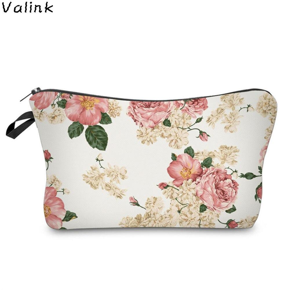 Portable Flowers Printing Zipper Storage Organizer Ladies Makeup Bag Fashion Women Travel Cosmetic Bag Trousse Maquillage Femme