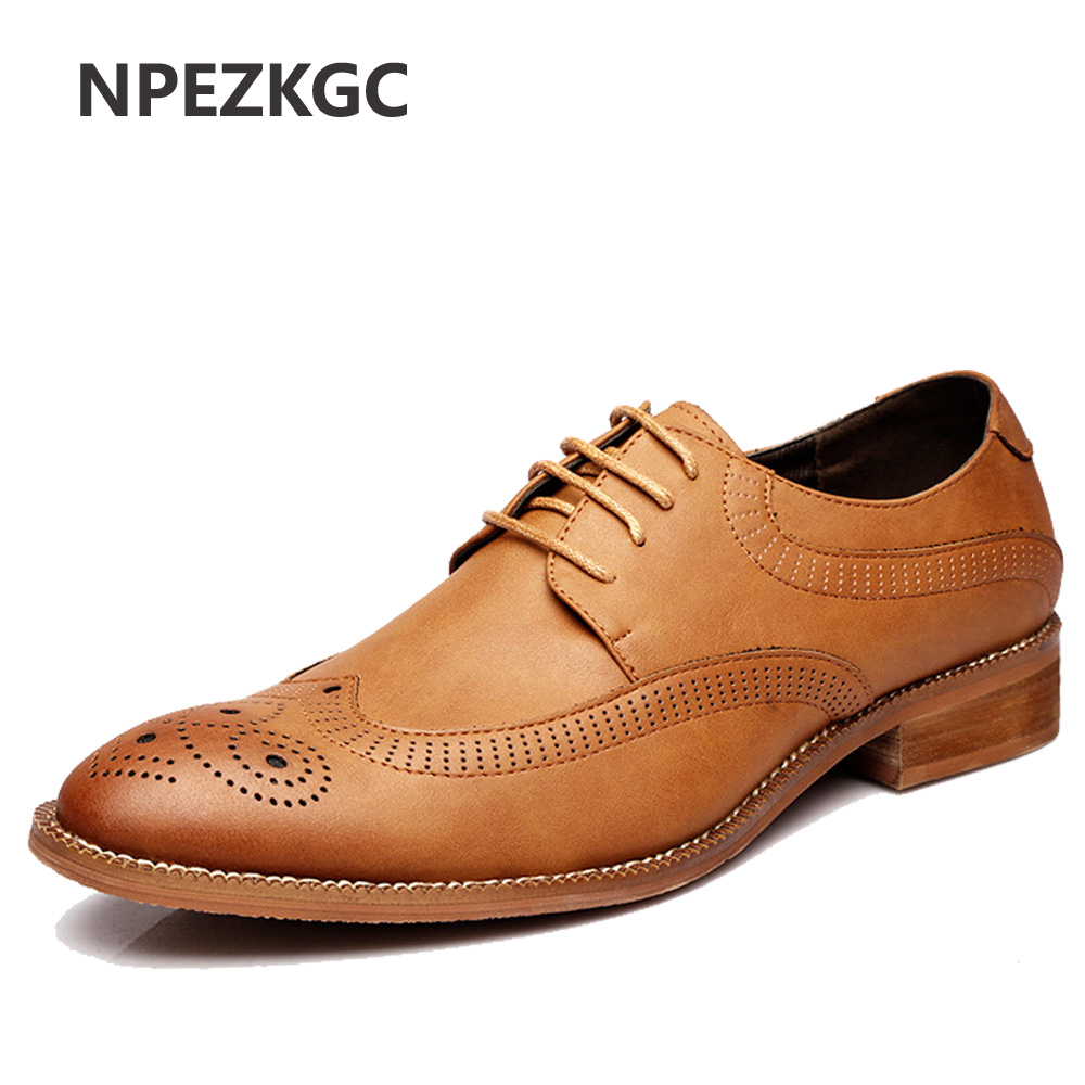 NPEZKGC British Style Brogue Men Formal Shoe Pointed Toe Lace Up Leather Dress Business Shoes Flats Oxford Shoes For Men Oxfords велосипед merida dakar 612 walk girl 2014