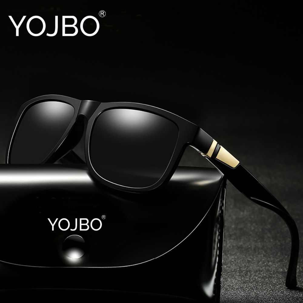 354b111f30 YOJBO Luxury Polarized Sunglasses Men Driving Brand Designer Square Vintage Mirror  Sun Glasses Black Frame Eyewear