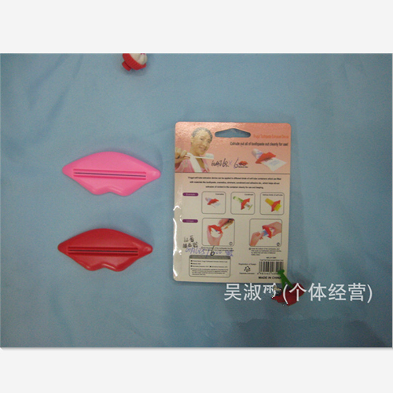 6 pcs colours send by random sexy hot lip kiss bathroom accessories plastic tube cream squeezer toothpaste dispenser red pink in bathroom accessories sets