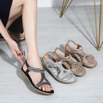 2019 summer woman flat shoes new arrival sandals clip toe sandals for lady free shipping Bohemian women's shoes fashion sandals
