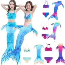 3PCS Kids Girls Új stílusok Fin Mermaid Tail Biniki Set Swimmable Úszás Cosplay jelmezek