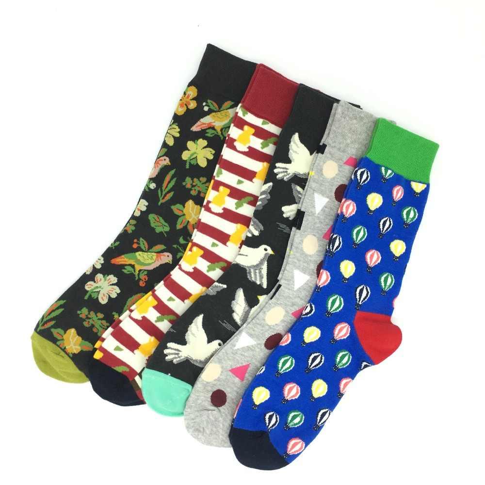 5 пара/лот для мужчин Прохладный Красочные Необычные Новинка забавным рисунком дизайн платье носки для девочек Crazy Мода чесаный хлоп