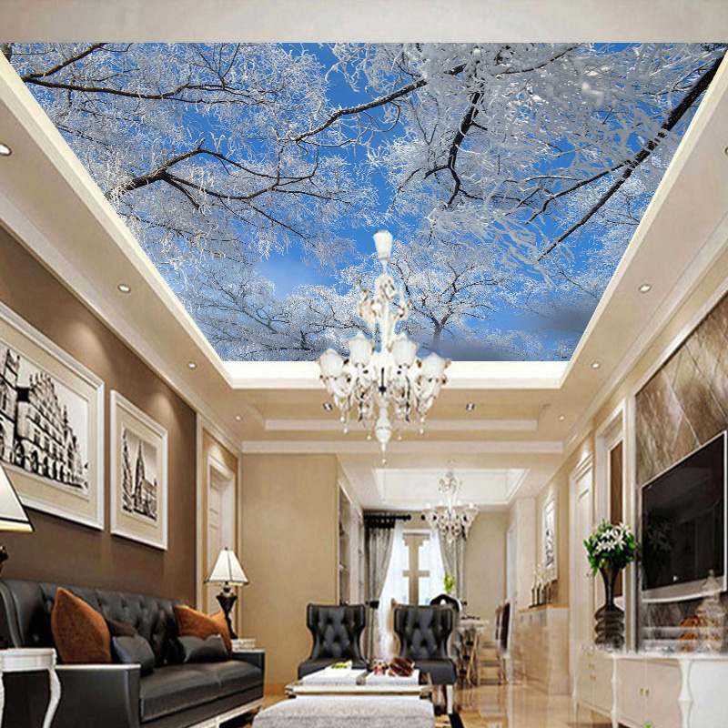 Custom 3D Photo Wall Paper HD Winter Sky Ice Snow Tree Landscape Background Wallpaper Living Room Ceiling 3D Mural Wallpaper custom 3d stereo ceiling mural wallpaper beautiful starry sky landscape fresco hotel living room ceiling wallpaper home decor 3d