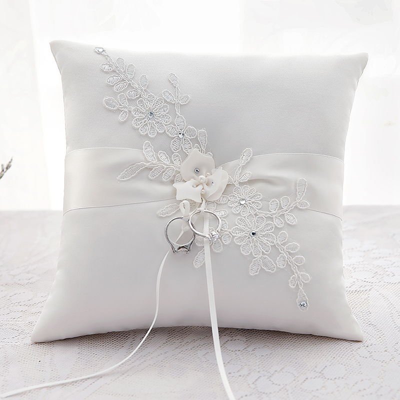 Classic Applique Flower Decorated Wedding Ceremony Ring Pillow In Satin With Ribbon Marriage Cushion Bearer 20x20cm 1pc in Party DIY Decorations from Home Garden