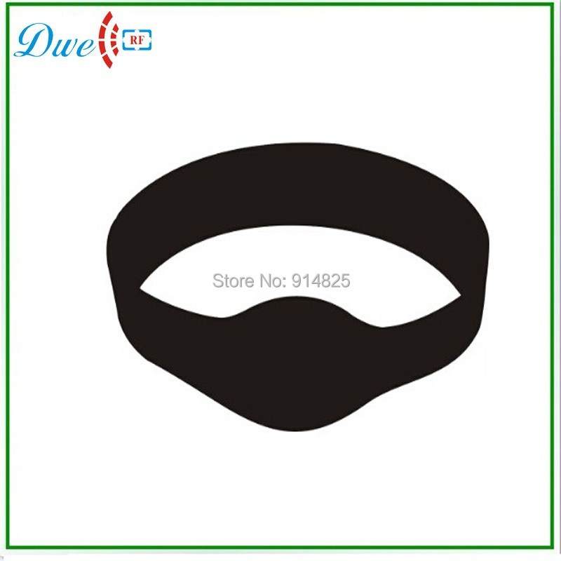 DWE CC RF Free shipping 10pcs /lot Waterproof rfid wristband tag 74mm  oval head black color dwe cc rf free shipping shenzhen factory low price 13 56mhz iso14443a mf adjustable silicon rfid wristband