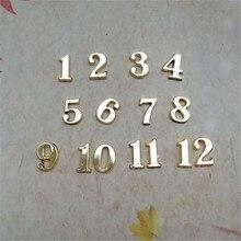 Новые 20 наборов 1,5 см Пластиковые Золотые арабские цифры для DIY кварцевые часы аксессуары