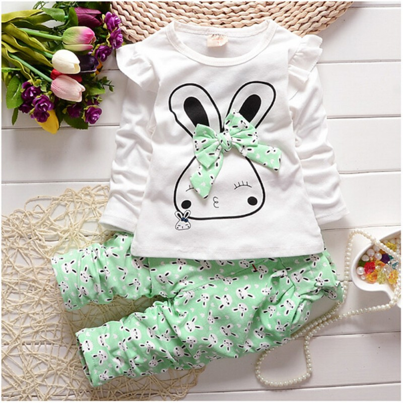 Kids Clothes Autumn/Winter Infant  Casual Long Sleeve Cartoon Rabbit Bowknot Set Girls Clothing Sets Girl Cltothes