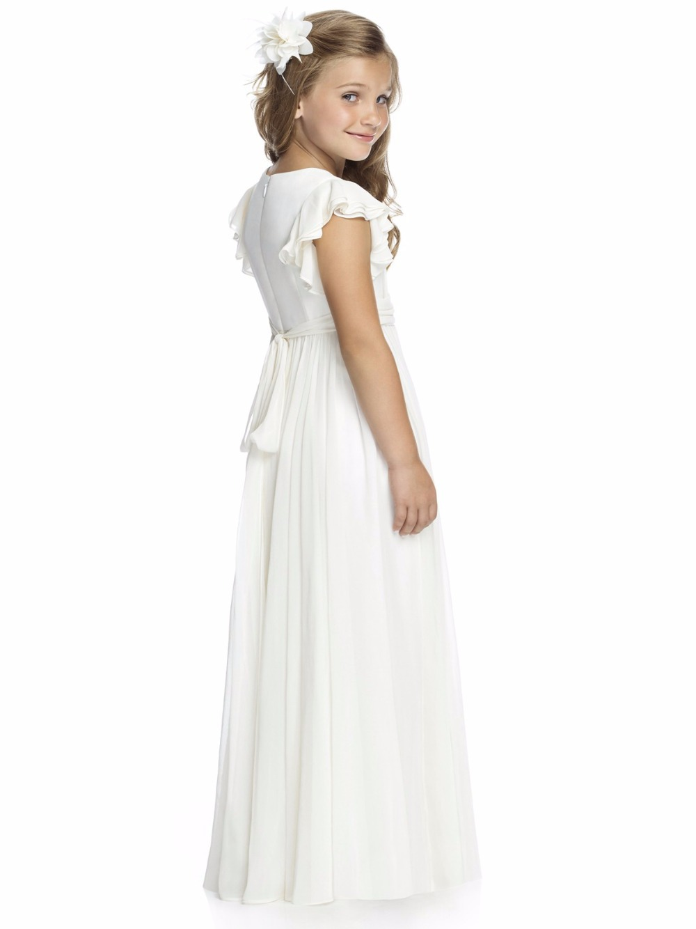 2016 short cap sleeve long ivory chiffon cheap flower girls dresses 2016 short cap sleeve long ivory chiffon cheap flower girls dresses for weddings event a line first communion dress for girls in flower girl dresses from izmirmasajfo Images